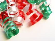 Curling ribbon. Red, green and white curling ribbon Stock Photo