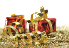 Curling ribbon and gifts Royalty Free Stock Photography