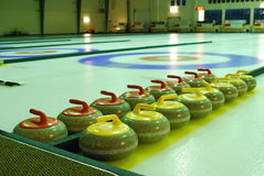 Curling rinks. Indoor curling rinks in a sports center, edmonton, alberta, canada Stock Photos