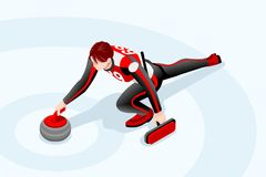 Curling Rock Winter Sports Vector. Curling match curler athlete winter sport man vector 3D isometric icon Stock Photos