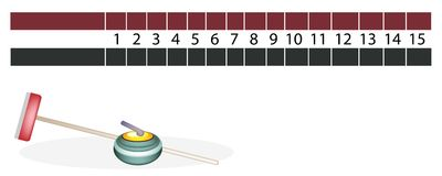 A Curling Scoreboard with Stones and Broom Royalty Free Stock Image