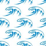 Curling sea waves seamless pattern Stock Photos