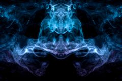 Curling smoke evaporating curls in the form of a spectacular, mystical head of a strange animal in the flame of fire, highlighted. With blue and red on an royalty free stock photography