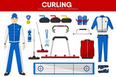 Curling sport equipment game player garment accessory vector icons set Royalty Free Stock Images