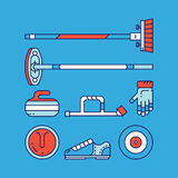 Curling sport main icons and symbols. vector illustration