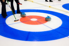 Curling sport stones equipment. Curling stones equipment on the ice Stock Images
