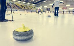 Curling stone on a game sheet. Indoor sport on ice Royalty Free Stock Photo