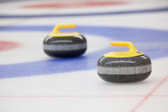 Curling Stones and the House Royalty Free Stock Photography
