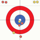 Curling stones on ice, vector  Royalty Free Stock Images