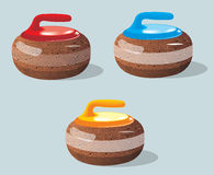 Curling stones, sport game. Ice. Rink. Vector illustration. Stock Image