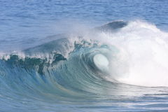 Curling wave. A wave breaks along the shore Stock Images