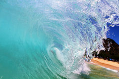 Curling Wave. A cool refreshing wave in Hawaii Stock Image