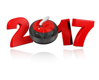 Curling 2017 with a White Background Royalty Free Stock Photo