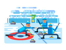 Curling winter game. Ice and stone, team and rink, competition brushing and slip, flat vector illustration Royalty Free Stock Photo