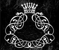 Curls on black with crown Stock Images