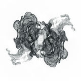 Curls of black smoke on a white background. Royalty Free Stock Images