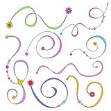 Curls with flowers, hearts and dots Royalty Free Stock Photos
