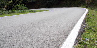 Curls in road of high mountain, french pirineo. Stock Photo