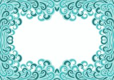 Curls Water Waves Frame Card. Waves floating around a border and water effect background. Invitation or greeting wet card. Space to write message on the middle Royalty Free Stock Photography