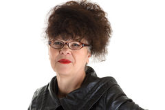 Curly adult woman with glasses Stock Photography