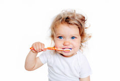 Curly baby toddler brushing teeth. Stock Images