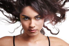 Curly black hair on wind. Royalty Free Stock Photo