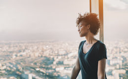 Curly black teenage girl on observation point Royalty Free Stock Photos