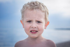 Curly blond boy nice to get the portrait Stock Photos
