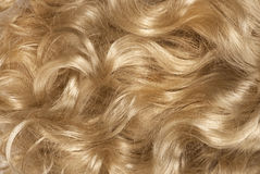 Curly blond hair. Close-up curly blond hair background royalty free stock image