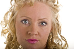 Curly Blonde Closeup Pink Lips Stock Images