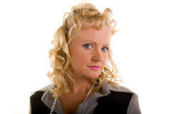 Curly Blonde Head to Side Eyes Front Royalty Free Stock Images