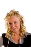 Curly Blonde in Pearls Great Smile Stock Photo