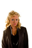 Curly Blonde in Pearls Pouting Stock Photography