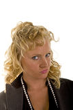 Curly Blonde With Disapproving Look Stock Images