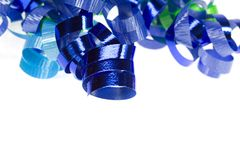 Curly Blue Ribbon Isolated Stock Images