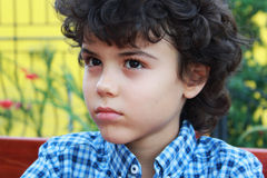 Curly boy. Close portrait of an attractive little boy with blue shirt Stock Image
