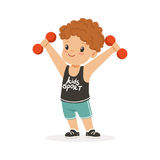 Curly boy exercising with dumbbells, kid doing sports colorful character vector Illustration. On a white background Royalty Free Stock Photo