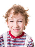 Curly boy face in close-up Royalty Free Stock Images