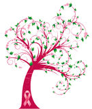 Curly breast cancer awareness tree Stock Photos