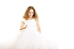 Curly bride in wedding dress Royalty Free Stock Photos