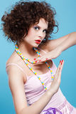Curly brunette girl Royalty Free Stock Photography