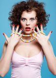 Curly brunette girl Royalty Free Stock Images