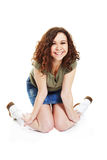 Curly brunette in white boots Royalty Free Stock Photo