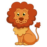 Curly cartoon lion with fluffy mane Stock Photography