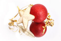 Curly christmas bauble and star Stock Photography