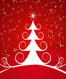 Curly Christmas Tree on Red royalty free stock photos