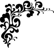 Curly corner. A curling, black  embellishment Stock Images