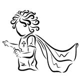 Curly cute baby in a raincoat, a little superhero.  stock illustration