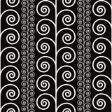 Curly decorative seamless pattern, black and white Royalty Free Stock Photo