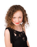 Curly female looking at you isolated Royalty Free Stock Photography